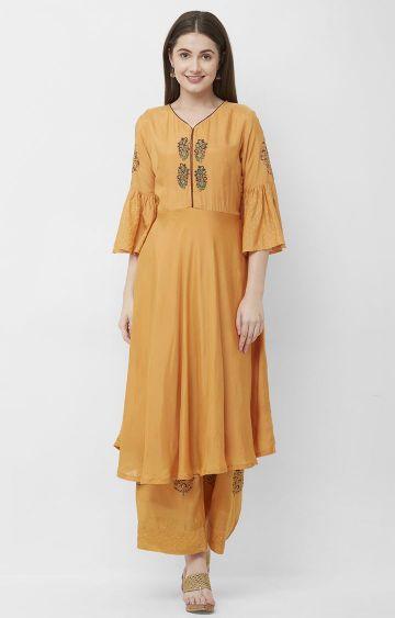 CELEBRATION | Orange Embroidered Silk Kurta Palazzo Set