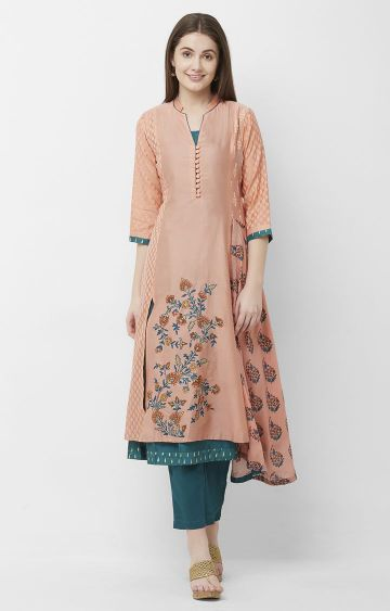 CELEBRATION | Peach Embroidered Chanderi Silk Kurta Pant Set