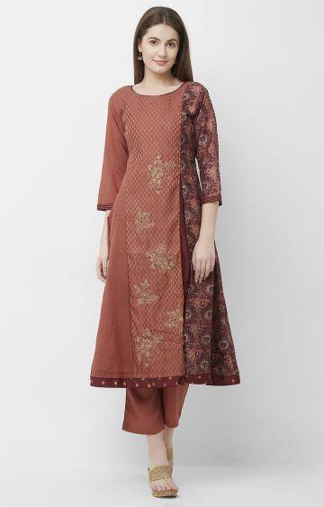 CELEBRATION | Brown Embroidered Chanderi Silk Kurta Pant Set