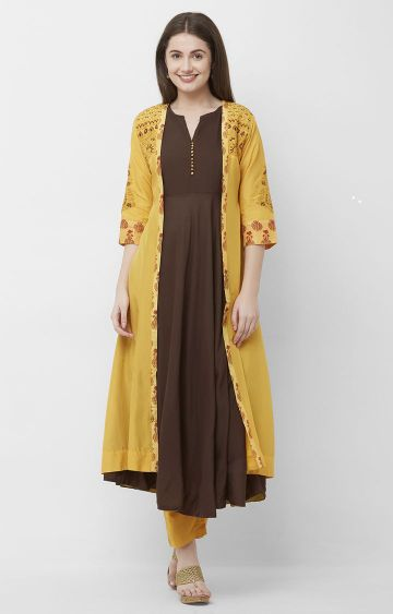 CELEBRATION | Yellow and Brown Silk Embroidered Kurta Pant Set