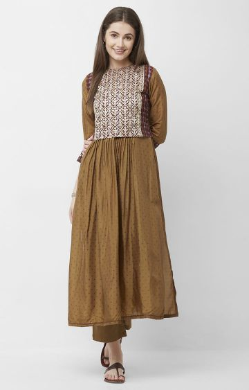 CELEBRATION | Brown Printed Chanderi Silk Kurta Pant Set