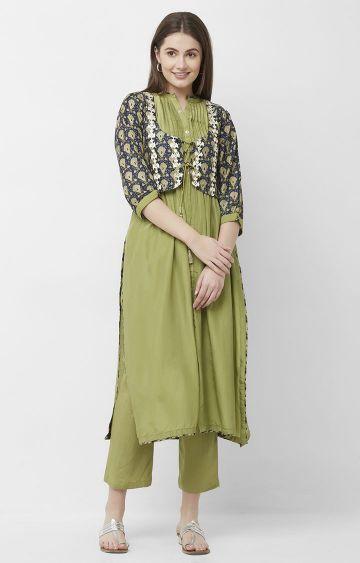 CELEBRATION | Green Chanderi Silk Kurta Pant Set