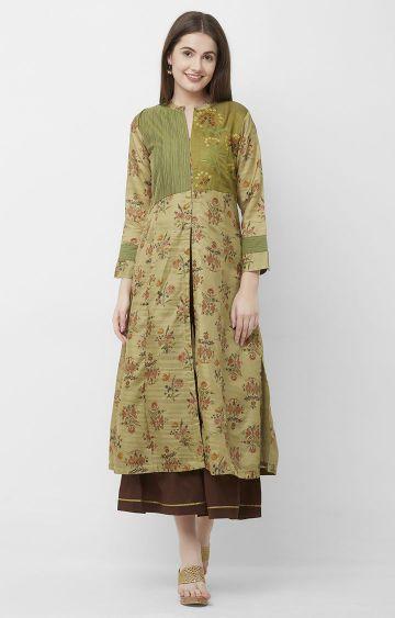 CELEBRATION | Green Embroidered Chanderi Kurta Skirt Set