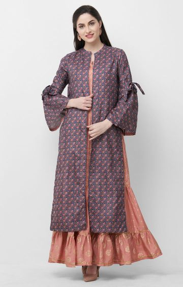 CELEBRATION | Peach Printed Kurta with Jacket