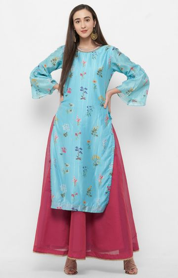 CELEBRATION | Blue Printed Kurta with Skirt Set
