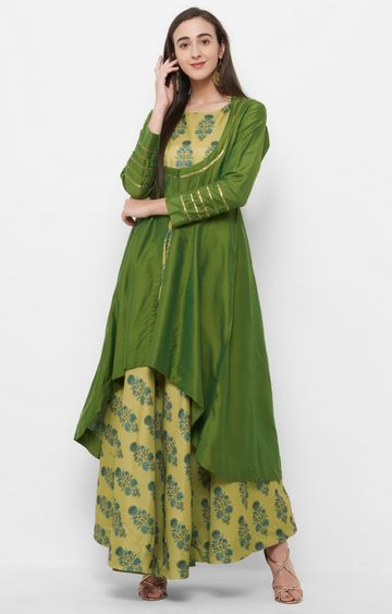 CELEBRATION | Green Floral Maxi Dress with Jacket