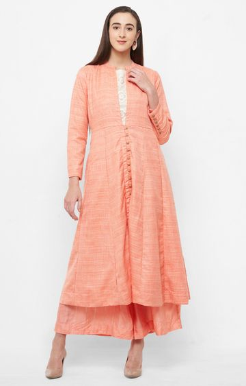 CELEBRATION | Peach Solid Palazzo and Kurta with Ethnic Jacket