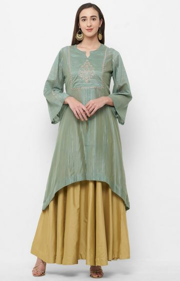 CELEBRATION | Green Embroidered Kurta with Skirt Set