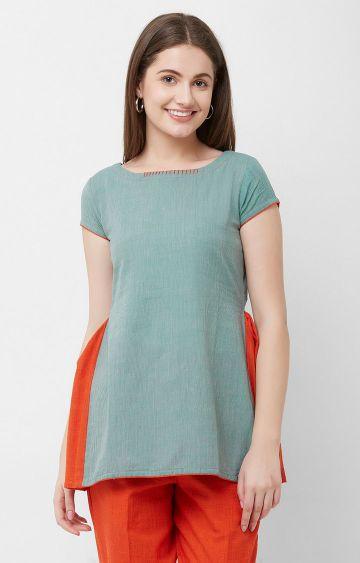 ANVITA | Green Striped Cotton Top