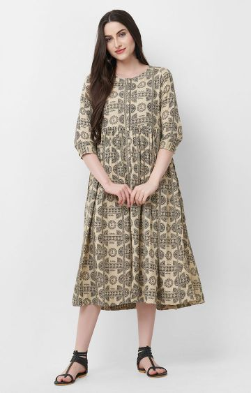 ANVITA | Beige Printed Cotton Anarkali