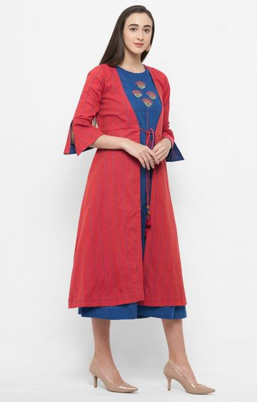 ANVITA | Blue and Rust Embroidered Kurta with Jacket