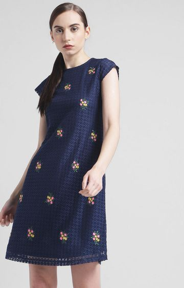 Zink London | Navy Embroidered Shift Dress
