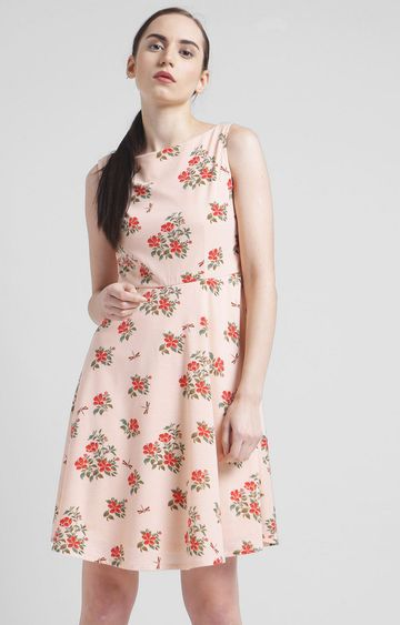 Zink London | Peach Floral Skater Dress