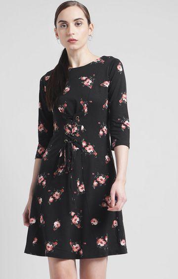 Zink London | Black Floral Shift Dress
