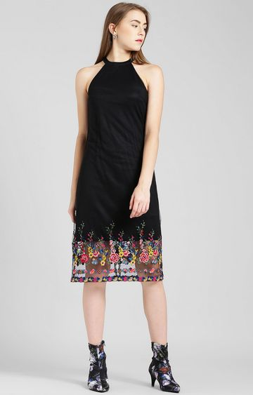Zink London | Black Embroidered Shift Dress