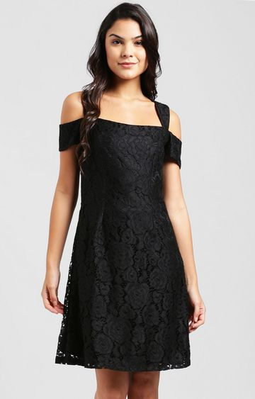 Zink London | Black Embroidered Skater Dress