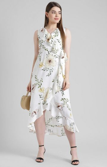 Zink London | White Floral Asymmetric Dress