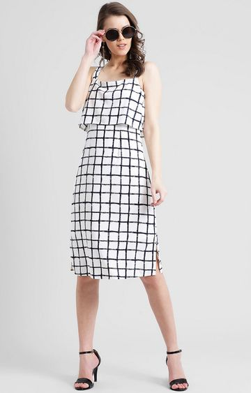 Zink London | White Checked Shift Dress