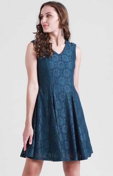 Zink London | Teal Solid Skater Dress