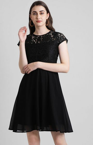 Zink London | Black Solid Skater Dress