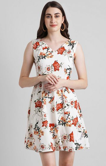 Zink London | White Floral Skater Dress