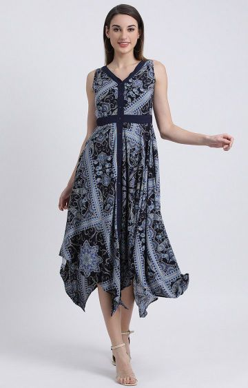 Zink London | Blue Printed Asymmetric Dress