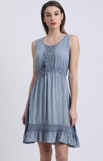 Zink London | Blue Solid Skater Dress
