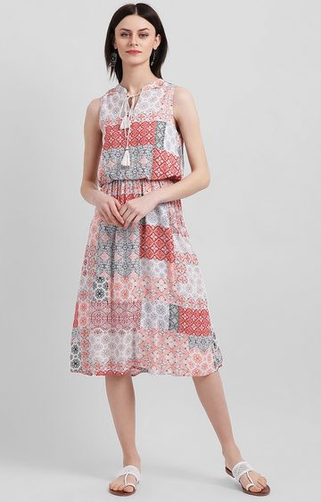 Zink London | Pink and White Printed Skater Dress
