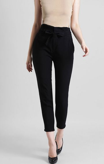 Zink London | Black Cropped Chinos