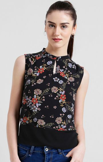 Zink London | Black Floral Top