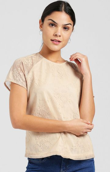 Zink London | Beige Embroidered Top