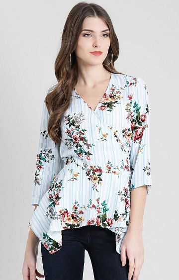 Zink London | Off White Printed Peplum Top