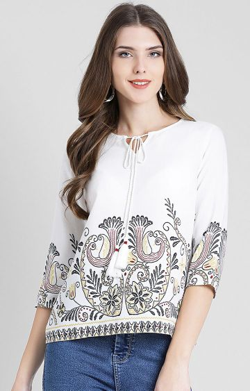 Zink London | White Printed Top