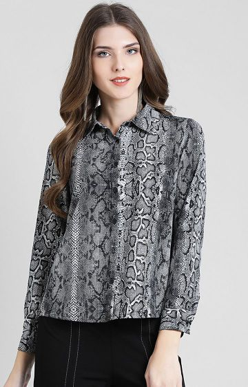 Zink London | Grey Printed Casual Shirt