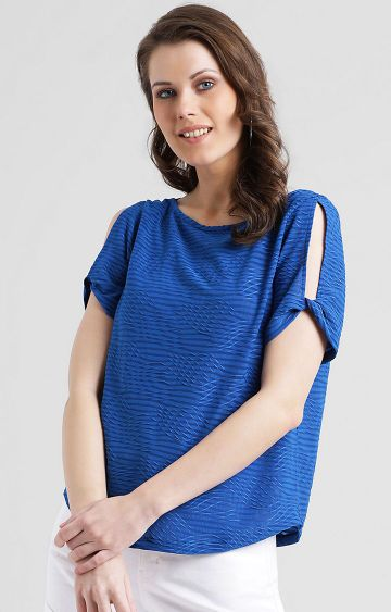 Zink London | Blue Striped Top