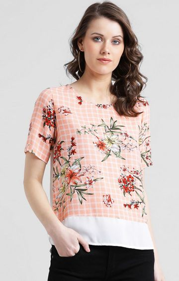 Zink London   Peach Checked Top