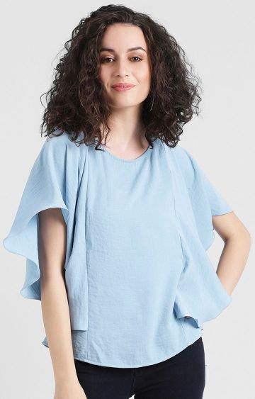 Zink London   Blue Solid Top