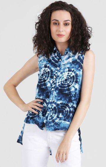 Zink London | Blue Printed Casual Shirt
