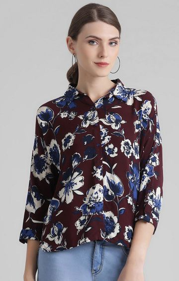 Zink London | Maroon Printed Casual Shirt