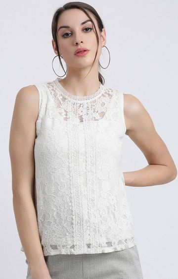Zink London | White Embroidered Top