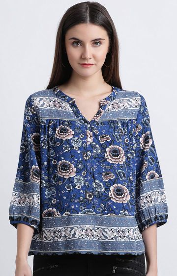 Zink London | Blue Printed Top