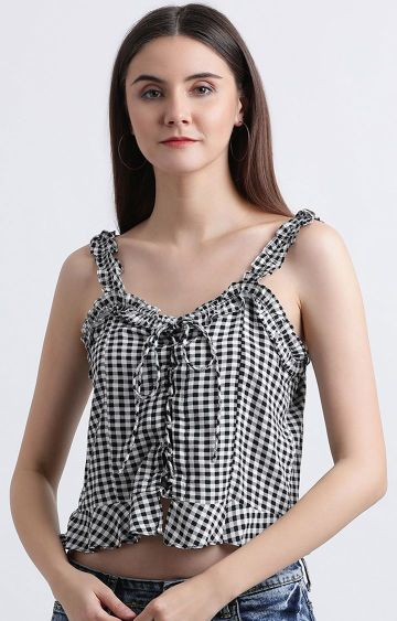 Zink London | Black and White Checked Crop Top