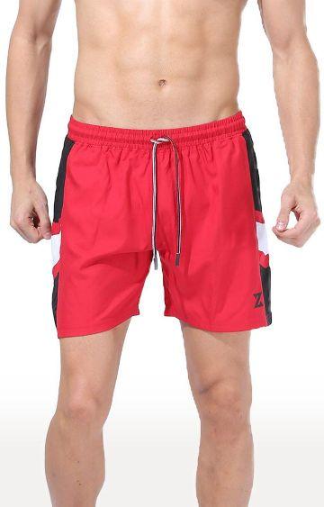 Azani | Red and Black Colourblock Shorts