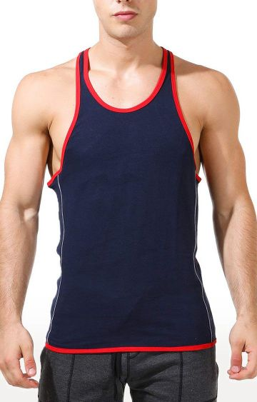 Azani   Navy and Red Solid T-Shirt