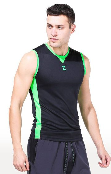 Azani | Black and Green Solid T-Shirt