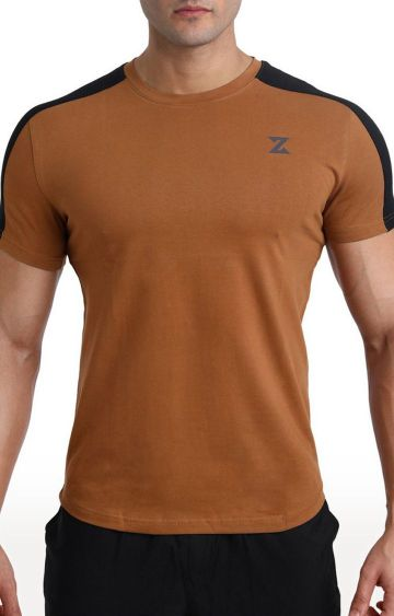 Azani | Khaki and Black Solid T-Shirt