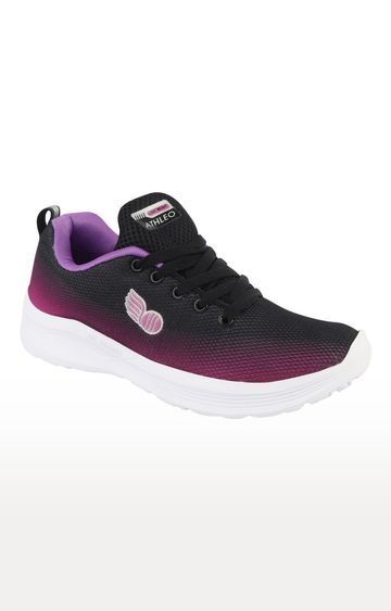 ATHLEO by Action | Black and Purple Sports Shoes