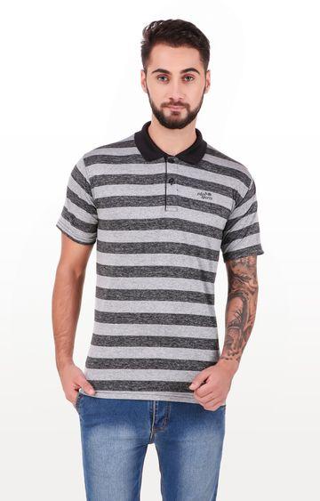 Eden Sports | Grey Striped Polo T-Shirt