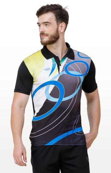 Eden Sports | Black Printed Polo T-Shirt