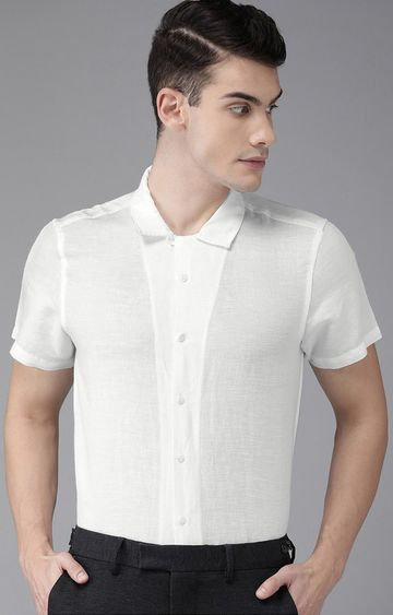 The Bear House | White Solid Casual Shirt